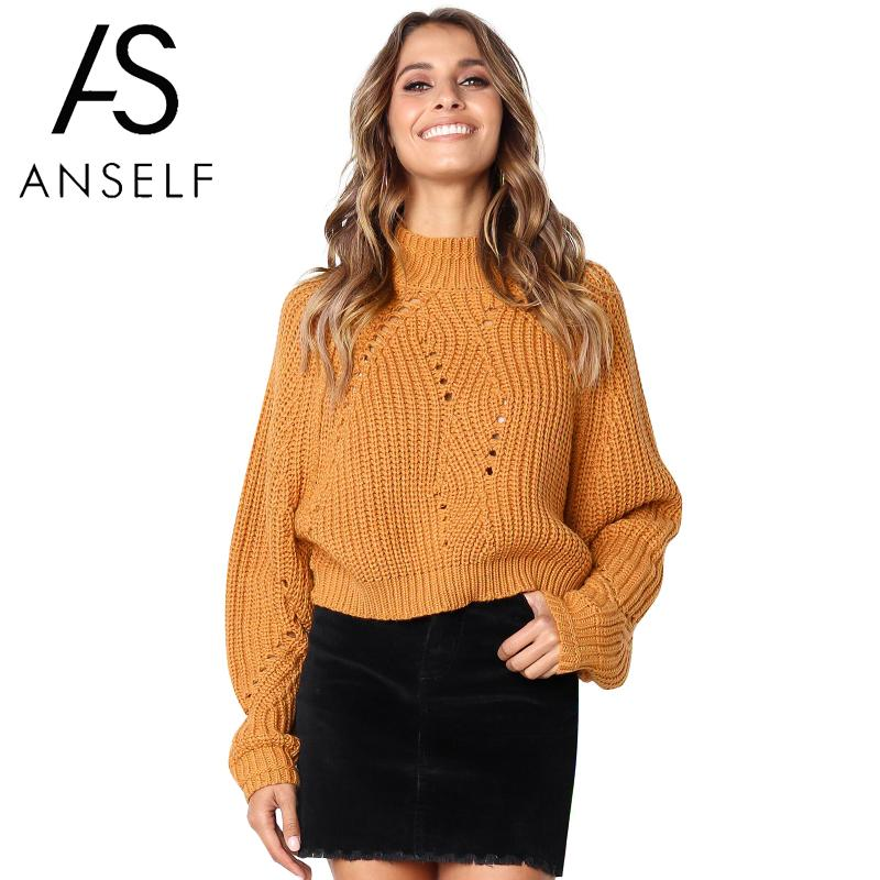 Korean Style Sweater Women Knitted Tops Stand Collar Long