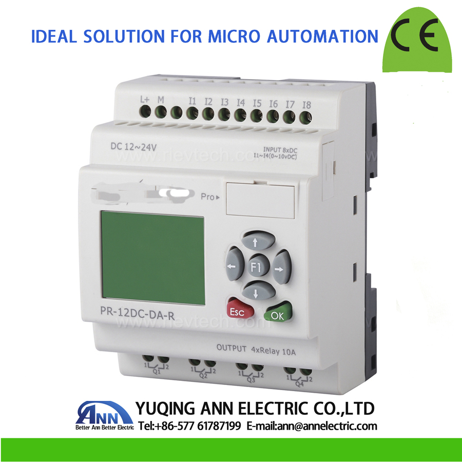 PR 12DC DA R с ЖК дисплеем, без кабеля, DC12V DC24V, 4 DI/AI (0 10 в) + 4 DI, 4 реле (10A) выход, умное реле, контроллер Micro PLC