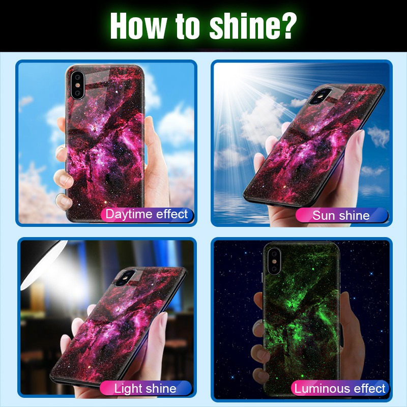 TOMKAS Luminous Starry Luxury Case for iPhone X Xs Max Xr Glass Phone Cover Christmas Silicone Case for iPhone 7 8 6 S 6s Plus (17)