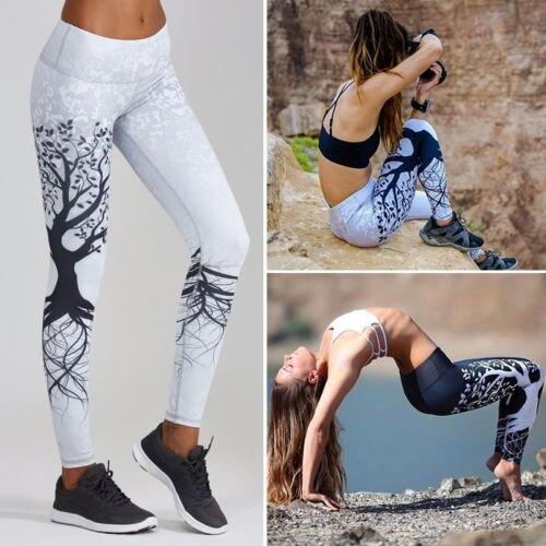 Womens Fitness Leggings Pants Tree Long Leggings Black Gray Trousers 6-14