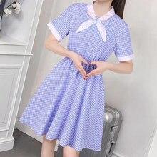 2019 Summer Dress Women Elegant Plaid Casual Short Dress Bow Tie V Neck Dresses Korea Short Sleeve Slim Mini Office Ladies Dress цены