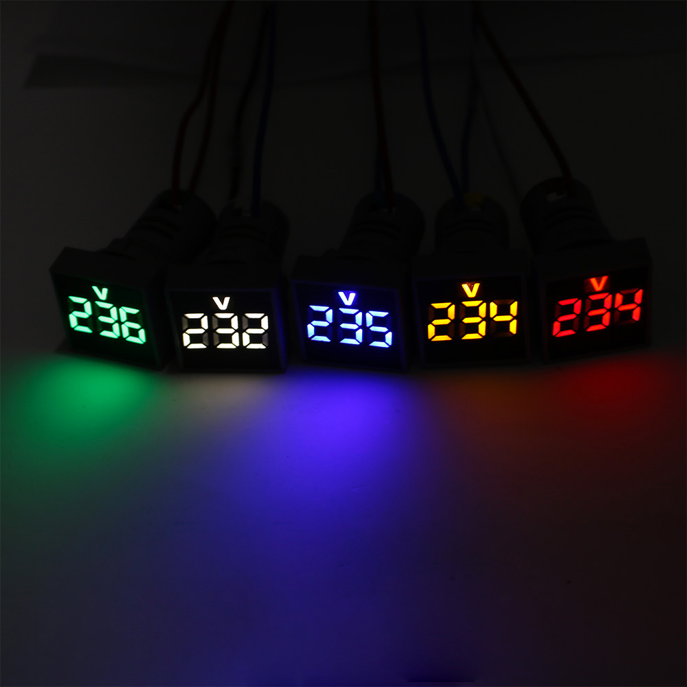 22MM Measuring Range AC 12-500V LED Voltmeter Voltage Meter Indicator Pilot Light Red Yellow Green White Blue Digital