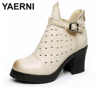 YAERNI High Quality Genuine Leather Sandals Women Summer Fashion Ankle Boots Women Boots Soft Casual high heel Women Shoes E326