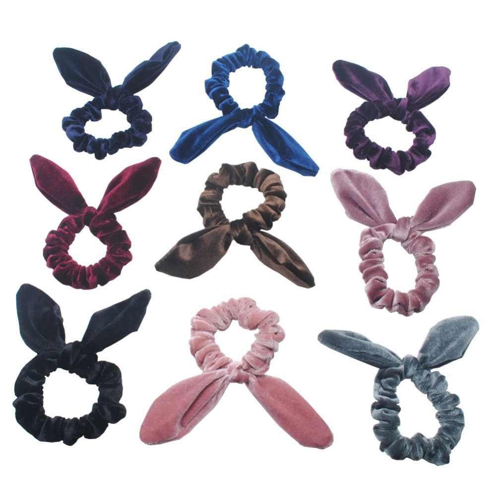 1 peça Mulheres De Veludo Elástico Faixas de Cabelo Da Orelha de Coelho Meninas Headbands Senhora Laço de Cabelo Crianças Acessórios Para o Cabelo de Presente de Aniversário