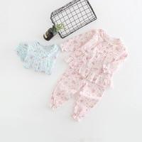 Autumn Brand Baby Girls Lace Patchwork Pajamas Sets Kids Princess Cartoon Rabbit Home Suit Infantil Sleepwear