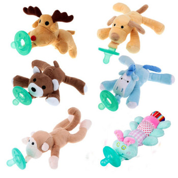 Newborn Silicone Babies Pacifiers Nibbler Nipple Soother Toys Boy Clips Chain Girl Toy Baby Pacifier Clip Monkey Pacifier Nibbler