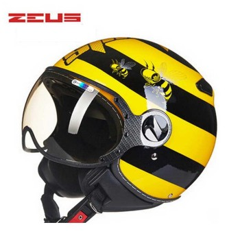 DOT ZEUS 210c yellow bee 3/4 open face motorcycle helmet with Lining unpick and wash, motorbike helmets