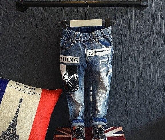 2-8Y new 2016 autumn boys fashion cartoon jeans children denim pant kids jeans boys trousers