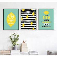 Cartoon Abstract Lemon Leaves English letters Canvas Painting for living room decor posters and pictures Artwork unframed