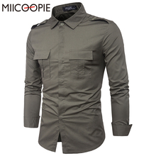 Brand Men Long Sleeve Cotton Shirt With Pocket Turn Down Collar Casual Solid Slim Shirts Homme Camisa Masculina Male Dress Shirt