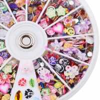 DIY Nail art Dekorationen Rad Mixed Farbe Cartoon Blumen Nagel Glitter Nagel Strass 8 CM Rad Schmuck Nagel Werkzeuge
