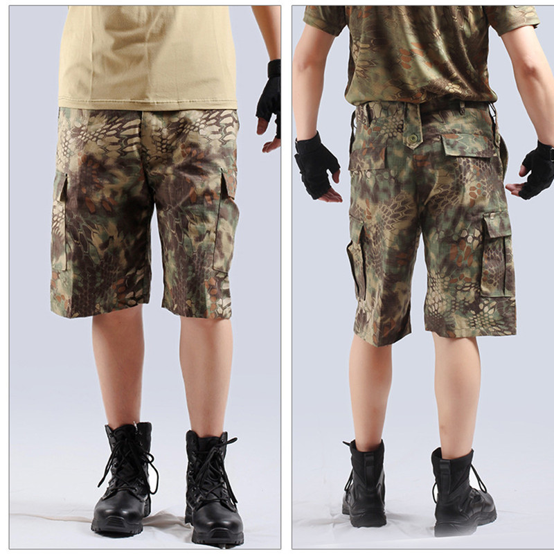 Summer mens camouflage loose cargo tactical shorts outdoor sports hunting camping climbing training knee length short trousers