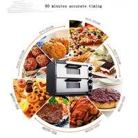 Электрические Сталь печь для выпечки коммерческих термометр двойной печь для пиццы, мини хлеб/торт тостер PO2PT