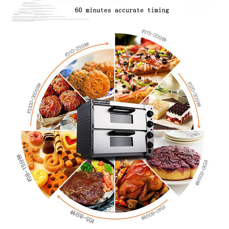 Electrical Steel Baking Oven Commercial Thermometer Double Pizza Oven Mini Bread/Cake Toaster PO2PT