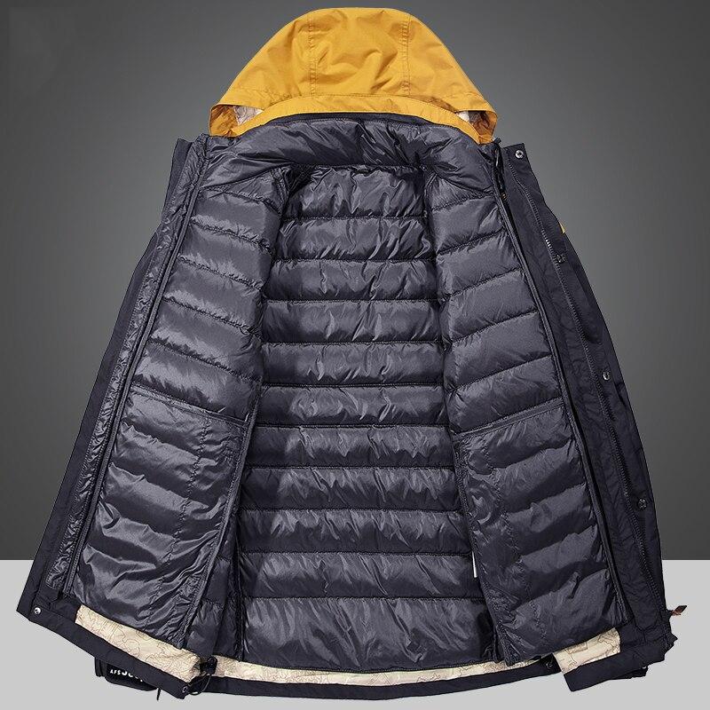 2 Piece Men's Winter duck down jacket man top quality detachable waterproof windbreaker outwear 90% white duck down coat men 4XL - 3