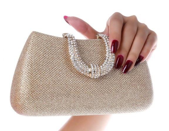 2015 nuevo de las mujeres de cristal U broche de Diamantes bolsos de embrague gl