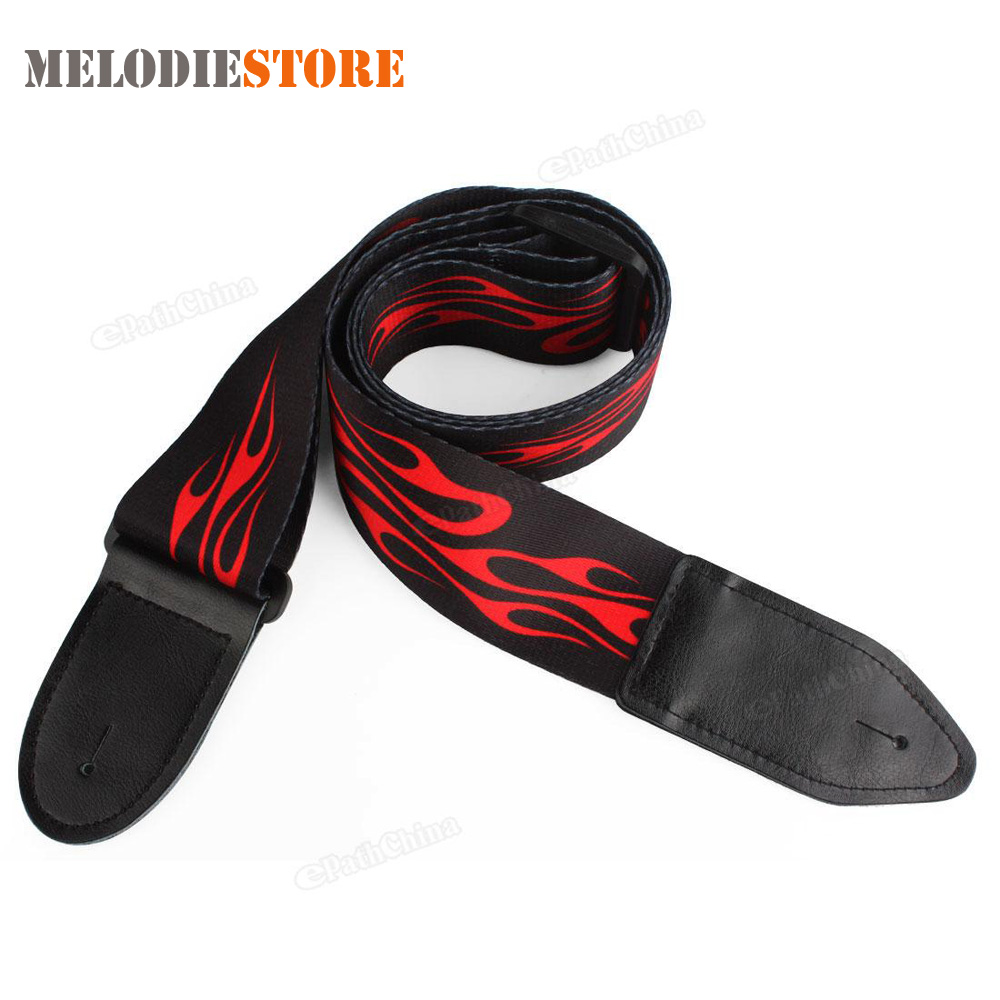 High Quality Jacquard Electric Guitar Strap Adjustable Buckle Acoustic Guitar Strap Belt Red Flame Print with Leather Ends nylon guitar strap adjustable bass acoustic electric guitar strap belt with leather ends