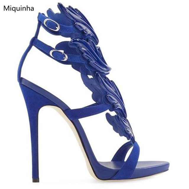 86c4f4571ef New Colors Angel Wings Sandals Gladiator Metallic Leaf Leather Shoes  Stiletto Heels Pumps Buckles Wrap High Heels Women Shoes