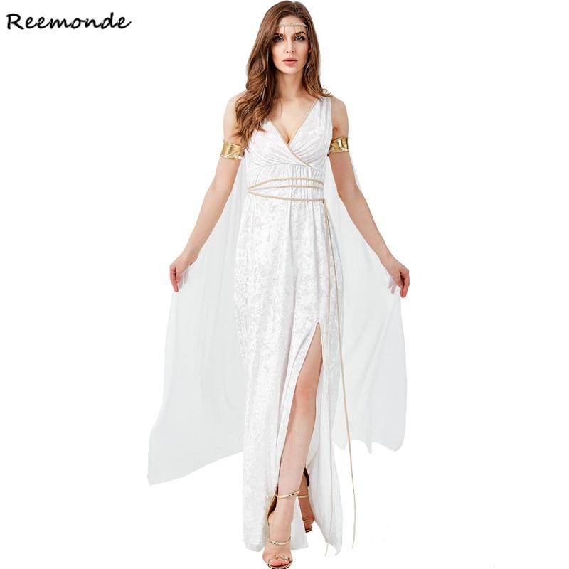 Greek Goddess Cosplay Costumes Cleopatra Egypt Roman White Retro Sexy Long Dresses Women Men Girl Halloween Party Fancy Clothing