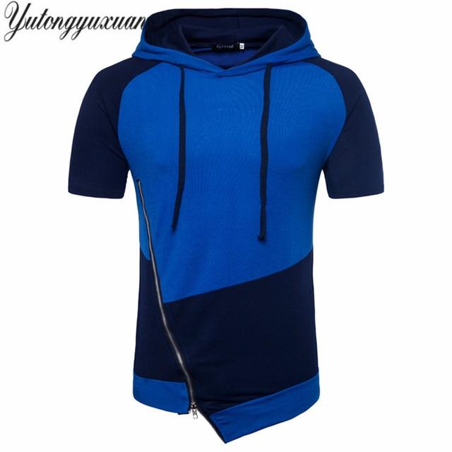 534cefcbd9ac 2018 men T-shirts New Summer style slim Irregular corner Diagonal zipper  design short sleeved
