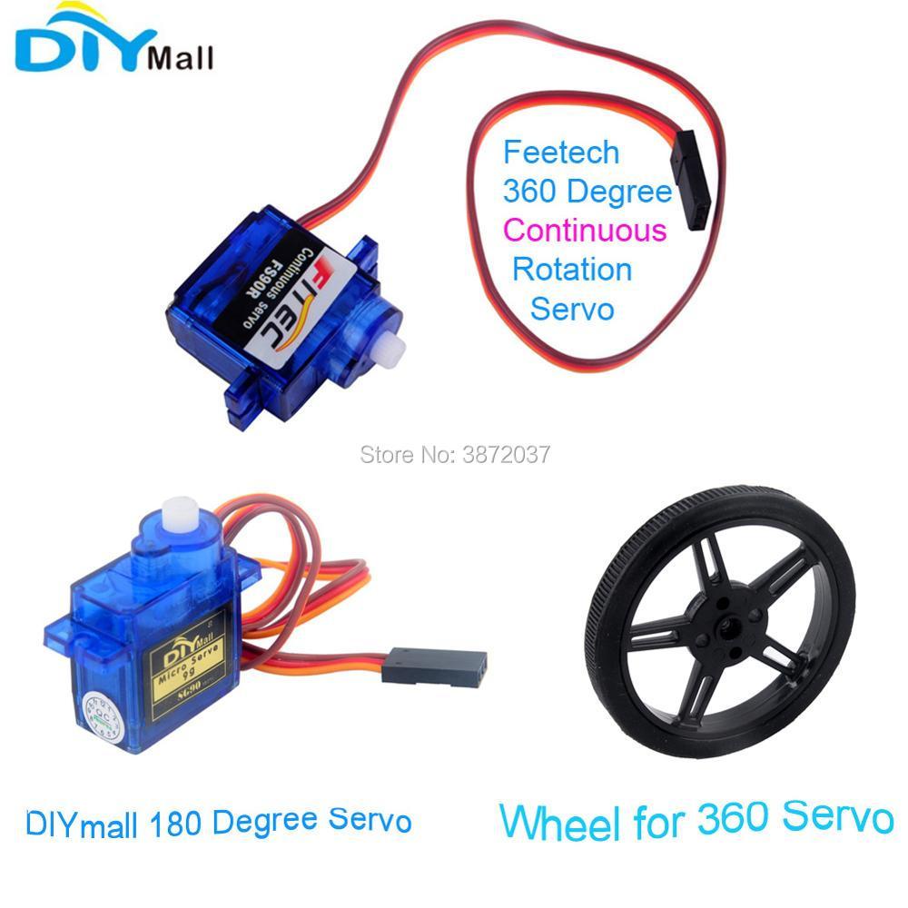 10pcs lot Feetech FS90R 360 Degree Continuous Rotation Servo Wheel DIYmall 180 Degree Servo for Arduino