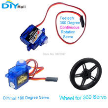 10pcs/lot Feetech FS90R 360 Degree Continuous Rotation Servo Wheel DIYmall 180 for Arduino Smart Car Robot RC Drone