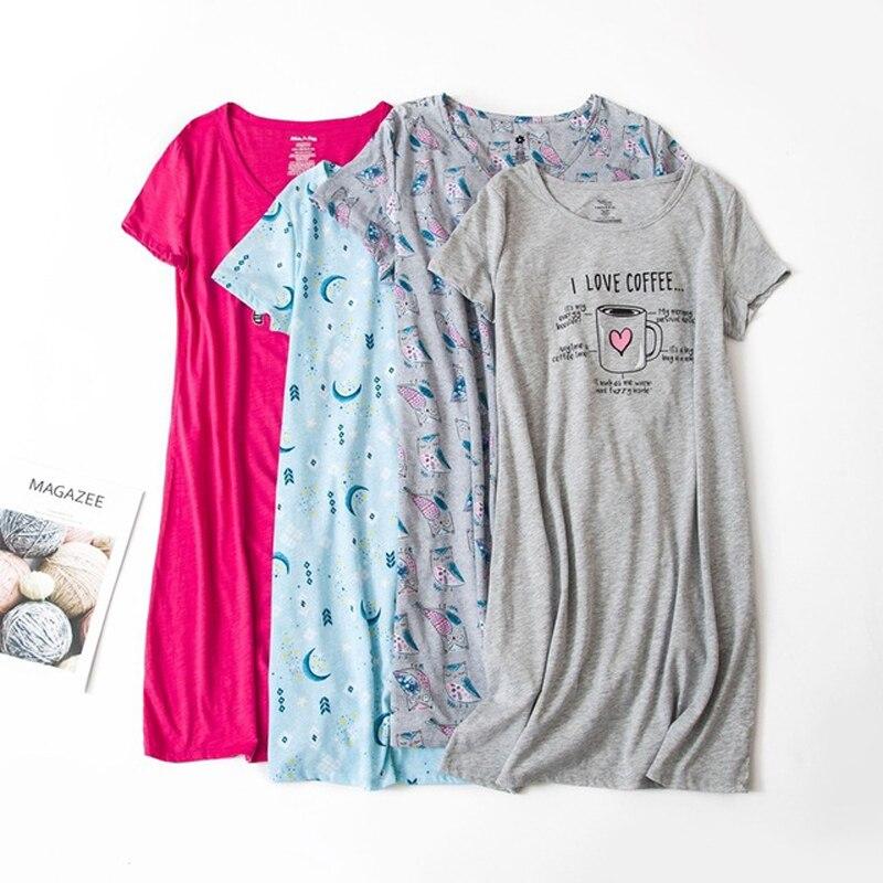 Plus Size 3XL Summer Girls Casual Cartoon   nightgown   Women 100% Cotton   Sleepshirts   Female Short sleeve O collar sleeping dress