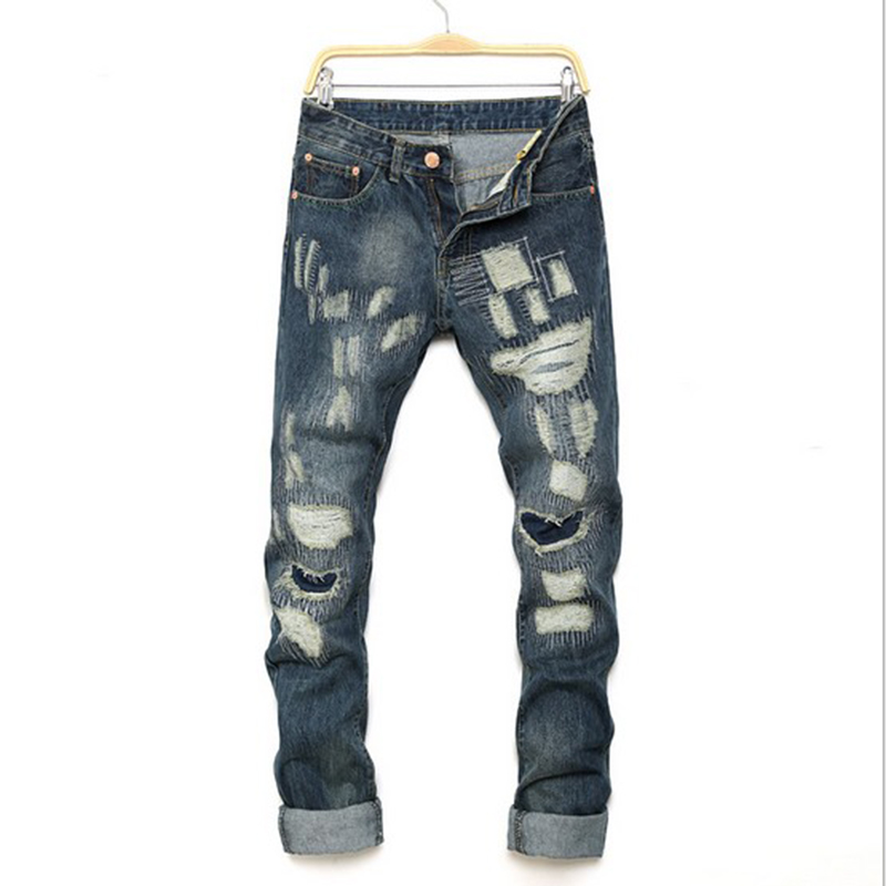 Personality popular clothing style hole patch jeans autumn and winter fashion mens jeans straight beggar trousers jeans men top secret skl2221ce