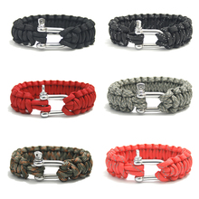 Retail 550 Paracord Bracelet Paracord Stainless Steel Buckle Bracelet Outdoor Camping Survival Kits
