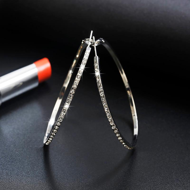 2018 Top Popular Earrings With Rhinestone Circle Earrings Simple Earrings Big Circle Gold Color Hoop Earrings For Women
