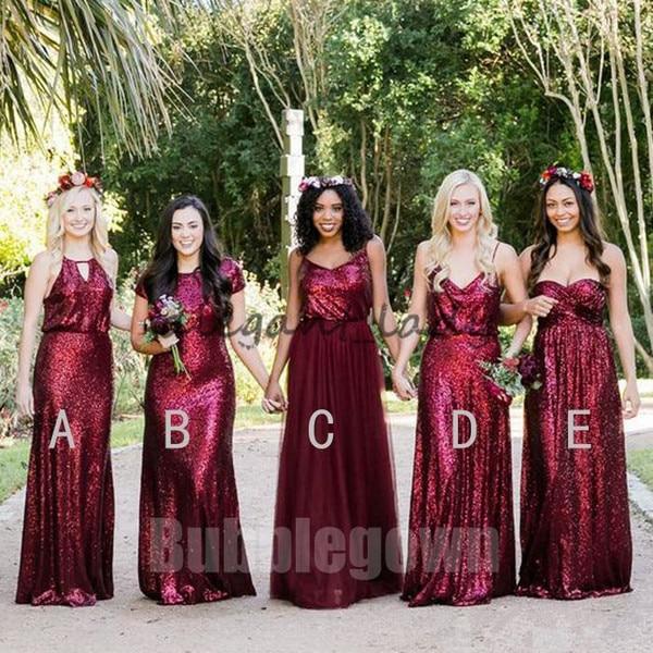 2018 Elegant Mismatched Burgundy Sequins Tulle Long   Bridesmaid     Dresses   Junior Bridemaid Custom Color and Size
