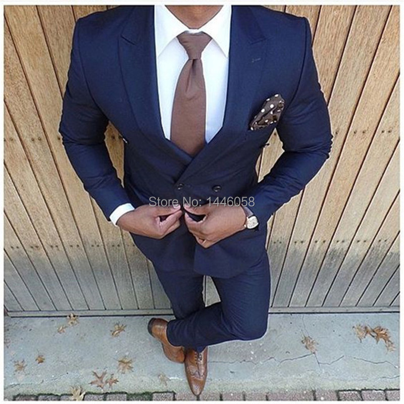 Navy Blue Peaked Lapel Double Breasted Suit Terno Slim Fit Costume Homme Men Wedding Suits Fashion Latest Coat Pant Design
