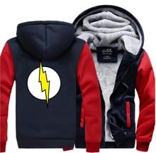 빅뱅 이론 셀던 플래시 후드 남자 2019 겨울 따뜻한 고품질 스웨터 thicken mens coat plus size jacket