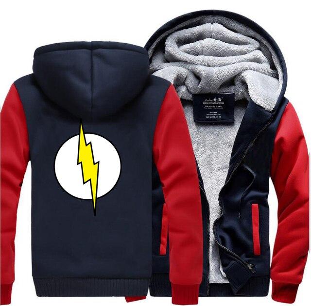 Толстовка с логотипом «флэш» Sheldon, Мужская теплая зимняя Толстовка большого размера с логотипом, 2019