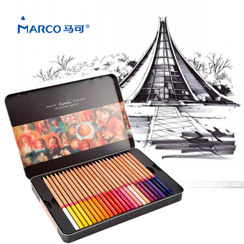 Marco Renoir Color Pencil 24/36/48/72 Professional Drawing Colored pencils Metal box Color pencil Lapis de Cor School Supplies цена