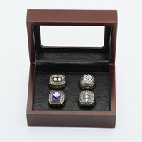 Gorgeous Ring Sets With Wooden Boxes Replica Ice Hockey Copper 4pcs Packs New York Islanders Sports