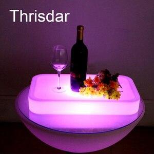 Image 1 - 16 Farbe Veränderbare Quadrat LED leuchtet Serviertablett USB Wiederaufladbare fruchtgetränke KTV Bars trays licht Mit fernbedienung