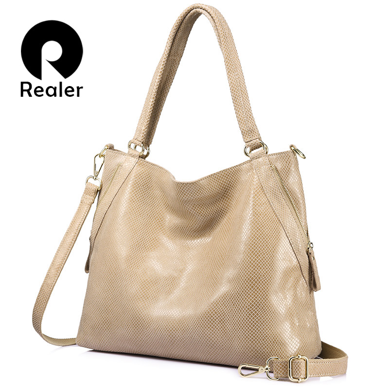 REALER brand women bag genuine leather handbag female large tote bag high quality serpentine print shoulder bag