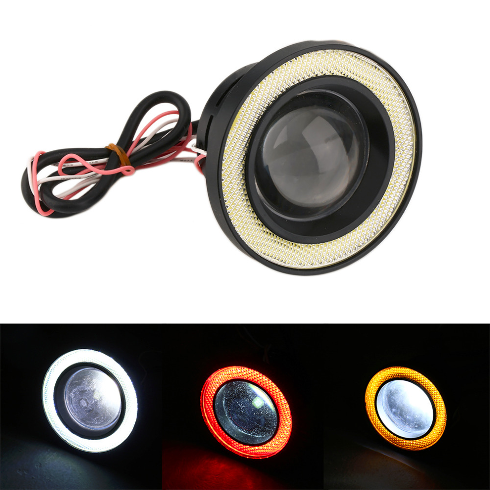 3.5  Waterproof Projector LED Fog Light With Lens Halo Angel Eyes Rings COB 30W Xenon White Blue 12V SUV ATV Off Road Fog Lamp free shipping hid xenon fog lamp projector lens kit glass lens with white red blue yellow purple green cob angel eyes