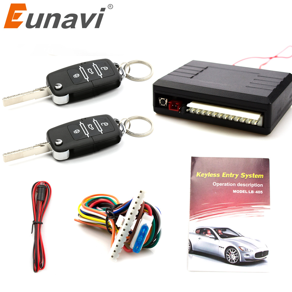 Eunavi Universal Car Auto Remote Central Control Kit Keyless Entry System  LED Keychain Central Door Lock Locking Vehicle