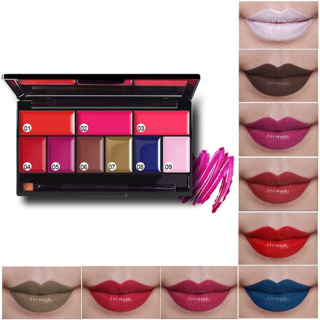 Sexy Red Lip Stick Palette Waterproof Lipgloss Sets Batons Maquiagem Black Brown Matte Lipstick Kits 9 colors with brush