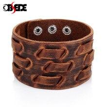 43b51f0f6e62 OBSEDE nueva moda hombres pulsera de cuero ancho marrón brazalete ancho  pulseras y brazaletes pulsera Vintage Punk hombres joyer.