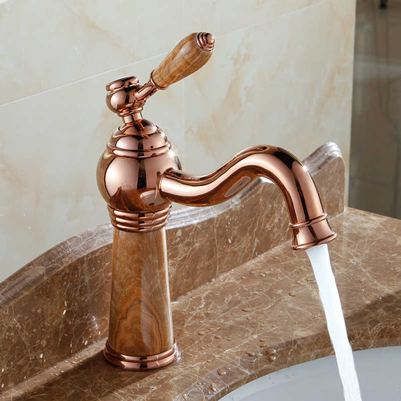 Европейский стиль мраморный Твердый латунный Смеситель для ванной роскошный нефритовый розовое золото с одной ручкой смеситель раковина кран AL-8907K