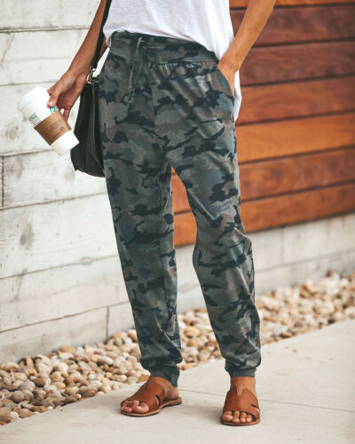 Womens Camouflage Pants Camo Casual Cargo Joggers Trousers Hip Hop Rock Trousers Womens Casual Stretch Drawstring Cargo Jogger