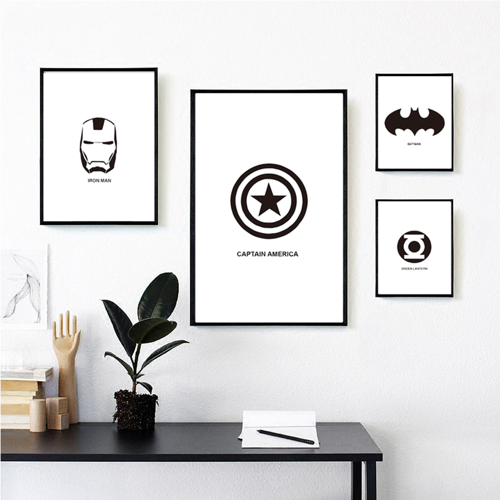 The Avengers Batman Captain America Minimalist Art Canvas Poster