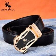 JIFANPUA мужской ремень, модный внешний вид, высокое качество кожи, деловой черный, сплав, автоматическая пряжка, Золотая оправа