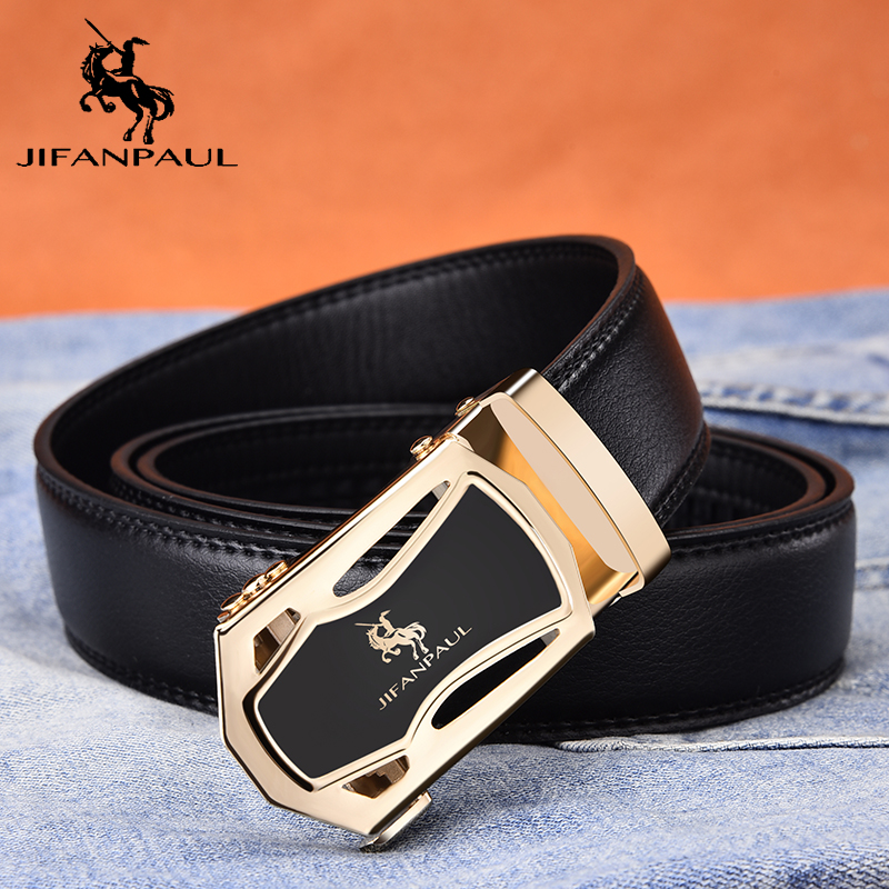 JIFANPUA Men's Belt Fashion Appearance Top Leather Quality Men Business Black Belt Alloy Automatic Buckle Gold Rim Free Shipping