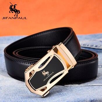 цена на JIFANPUA men's belt fashion appearance top leather quality men business black belt alloy automatic buckle gold rim free shipping