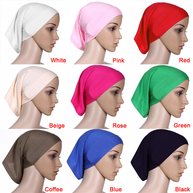 1pc 9 Colors 30x24cm Elastic Adjustable Muslim Islamic Arabian Hijab Tube Veil Robe Abaya Inner Caps Hats Modal Stretch Let Our Commodities Go To The World
