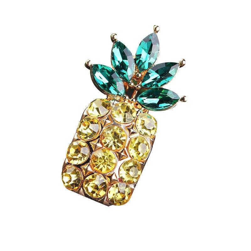 Green Crystal Leaf Yellow Rhinestone Fruit Pineapple Brooch Pins Fashion Women